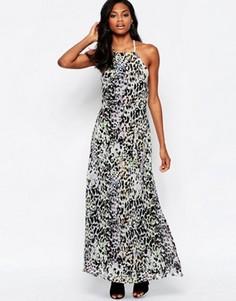 Платье макси с леопардовым принтом и низким вырезом на спинке Goldie Elegance - Мульти