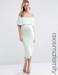 Платье-футляр миди с вырезом лодочкой и оборкой ASOS Maternity - Синий