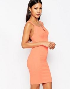 Бандажное платье мини с V‑образным вырезом WOW Couture - Розовый