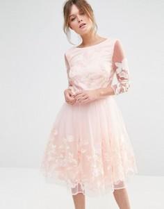 Платье миди для выпускного с вышивкой Chi Chi London Premium - Розовый