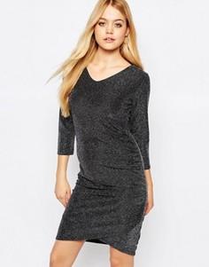 Платье с присборенным на боку дизайном Ichi Lulu - Серый