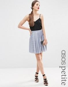 Кружевная мини-юбка со складками ASOS PETITE - Синий