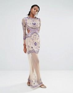 Платье макси с длинными рукавами Missguided - Бежевый