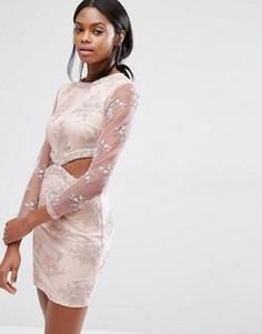 Платье мини с кружевной цветочной отделкой и вырезами Missguided - Розовый