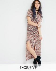 Прозрачное чайное платье макси с винтажным цветочным принтом Milk It - Черный