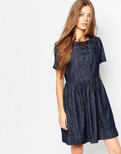 Темное джинсовое платье с завязкой на вороте Vanessa Bruno Athe - Синий