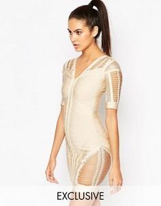 Облегающее бандажное платье с ажурными вставками WOW Couture - Бежевый