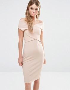 Облегающее платье с запахом спереди Fashion Union - Бежевый