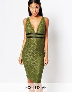 Кружевное платье-футляр с лямками NaaNaa - Зеленый