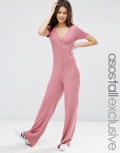Комбинезон с широкими штанинами и пуговицами ASOS TALL - Розовый