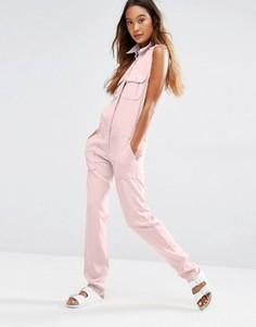 Комбинезон в стиле милитари с карманами спереди Honey Punch - Розовый