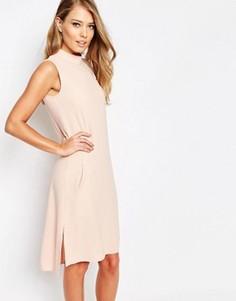 Свободное платье с отворачивающимся воротником Closet - Розовый
