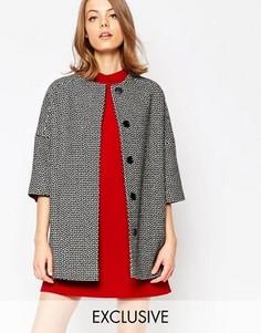 Пальто-кимоно в горошек Helene Berman - Черный