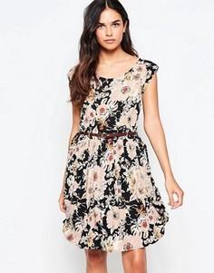 Короткое приталенное платье с цветочным принтом Vila - Мульти