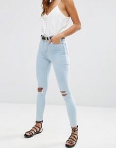 Синие джинсы скинни с завышенной талией и рваной отделкой ASOS Ridley - Синий