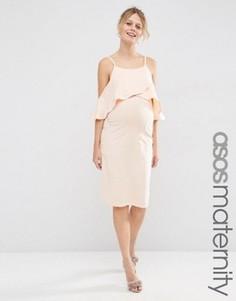 Платье миди для беременных с открытыми плечами ASOS Maternity - Розовый