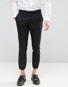 Укороченные зауженные брюки стретч с кромкой манжетом Selected Homme - Черный