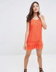 Красное шифоновое платье с цветочным принтом Abercrombie & Fitch - Красный