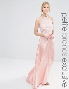 Платье макси с кружевным лифом и атласной юбкой John Zack Petite - Розовый