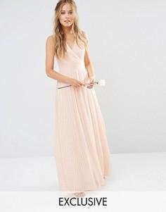Платье макси с запахом и складками TFNC WEDDING - Розовый