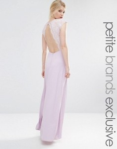 Платье макси с лифом из цветочного кружева для миниатюрных John Zack - Фиолетовый