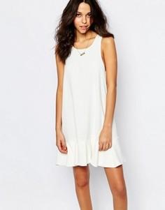 Платье с заниженной талией и оборкой по краю BA&SH Desir - Кремовый Ba&Sh