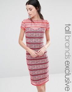 Кружевное платье в полоску с короткими рукавами Paper Dolls Tall - Розовый