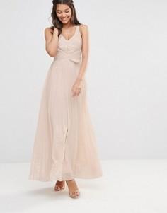 Плиссированное платье макси с отделкой металлик TFNC - Розовый
