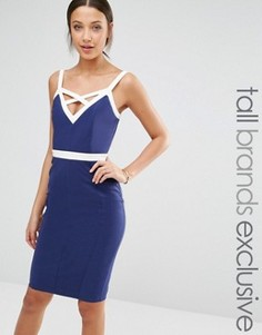 Облегающее платье с контрастными бретелями Paper Dolls Tall - Темно-синий