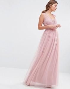 Шифоновое платье макси Little Mistress - Розовый