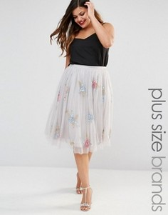Пышная юбка для выпускного с розами Lovedrobe Luxe - Серый