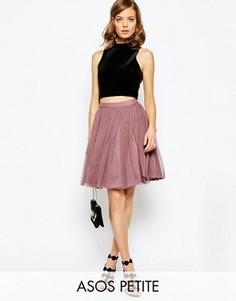 Многослойная мини‑юбка с отделкой из тюля ASOS PETITE - Розовый
