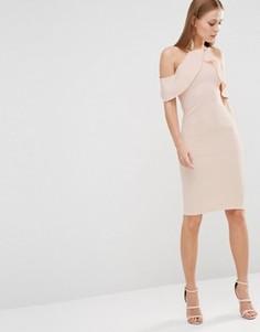 Платье миди с перекрестной оборкой Oh My Love - Розовый