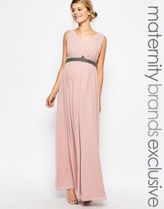 Платье макси для беременных с глубоким декольте и отделкой на талии Little Mistress Maternity - Розовый