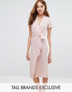 Платье с запахом спереди и поясом Alter Tall - Розовый