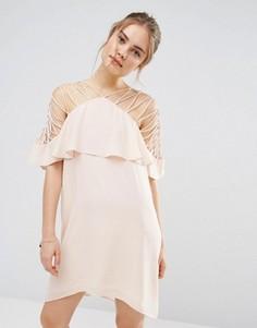Платье мини с бретельками и оборкой Endless Rose - Розовый