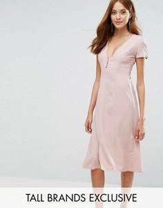 Платье миди с короткими рукавами и пуговицами спереди Alter Tall - Розовый