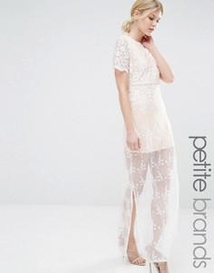 Платье макси с вышивкой Boohoo Petite - Кремовый