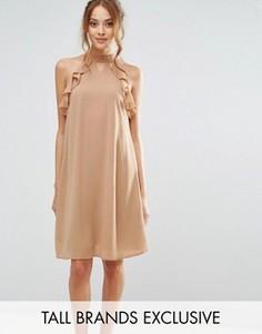 Цельнокройное платье с оборками на рукавах True Decadence Tall - Рыжий