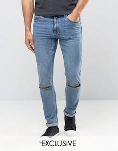 Темные джинсы скинни с рваной отделкой Cheap Monday - Синий