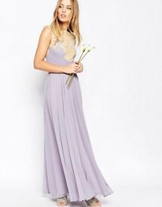 Платье макси с кружевной аппликацией ASOS WEDDING - Фиолетовый