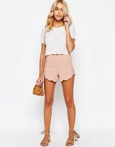 Трикотажные шорты с фигурной кромкой ASOS - Розовый