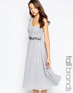 Приталенное платье миди на одно плечо с отделкой Little Mistress Tall - Серый
