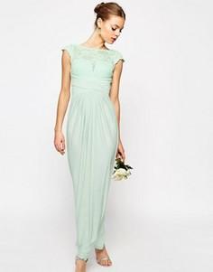 Платье макси с кружевным топом и плиссировкой ASOS WEDDING - Зеленый