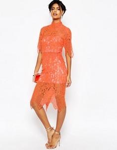 Платье миди с укороченным кружевным топом и фигурной отделкой ASOS - Оранжевый