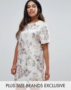 Цельнокройное жаккардовое платье с короткими рукавами и цветочным принтом Truly You - Мульти