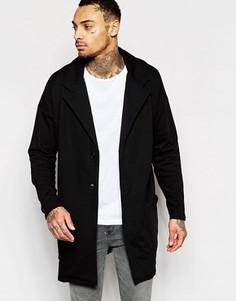 Черное длинное oversize-пальто из трикотажа ASOS - Черный