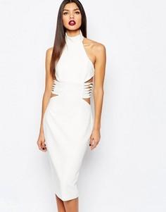 Платье-футляр миди с отделкой по бокам AQ/AQ Diaz - Кремовый