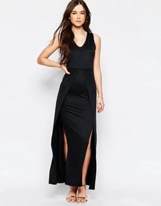 Платье макси с боковыми разрезами Wal G - Черный