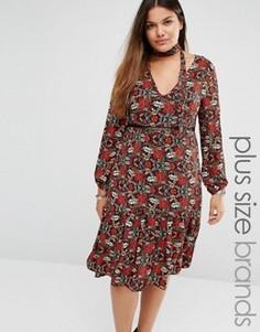 Платье миди с цветочным принтом и завязкой у горловины Alice & You - Мульти
